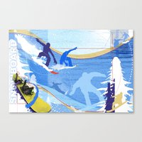 snowboarding Canvas Prints featuring Snowboarding by Robin Curtiss