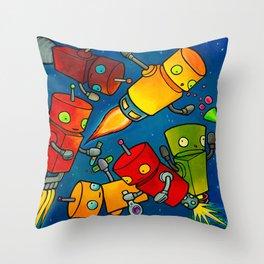Robot - Robot Party 2 (Zero Gravity) Throw Pillow