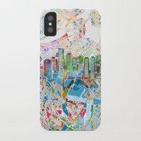 boston map iPhone & iPod Cases featuring boston city skyline map by Bekim ART