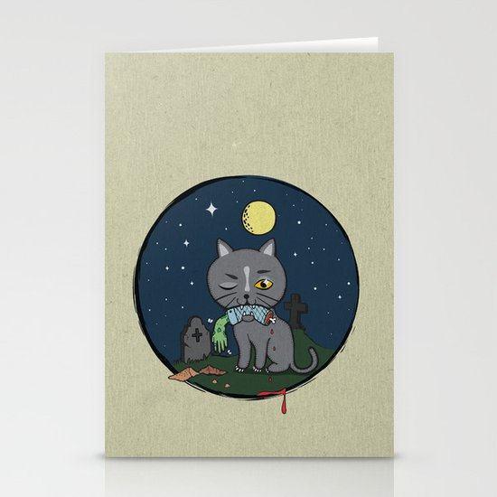 Cats love zombie meat! Stationery Cards