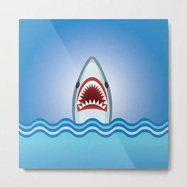 Cartoon Shark Metal Print