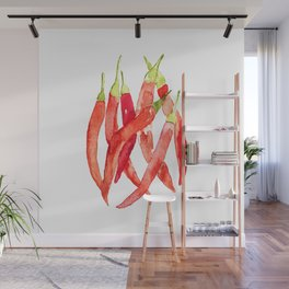 Watercolor Chilies Wall Mural