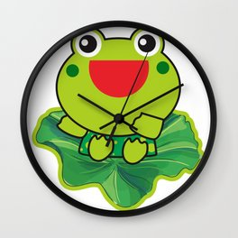 cute happy kero kerompa frog frogy Wall Clock