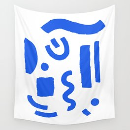 Brush Stroke Minimal 19 - Abstract Pattern Shapes Modern Mid Century Texture Blue. Gift idea Home deco Wall Tapestry