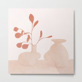 Minimal Branches and Vases Metal Print