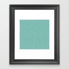 Teal Herringbone Framed Art Print