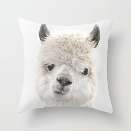 PEEKY ALPACA Throw Pillow