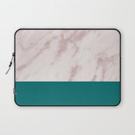 Real Rose Gold Marble and Biscay Bay Laptop Sleeve
