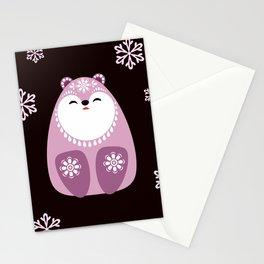 Pink Polar Bears Christmas Seamless Pattern Stationery Cards