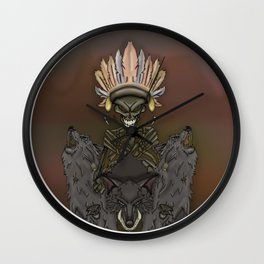 Skeleton Indian and wolves Wall Clock