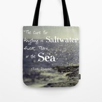 the cure Tote Bags featuring Saltwater Cure by ShadeTree Photography