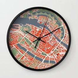 Copenhagen city map classic Wall Clock