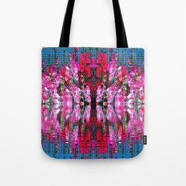 FUCHSIA PINK HOLLYHOCKS IN BLUE WATER REFLECTION Tote Bag