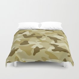 Yellow sand camo camouflage army pattern Duvet Cover