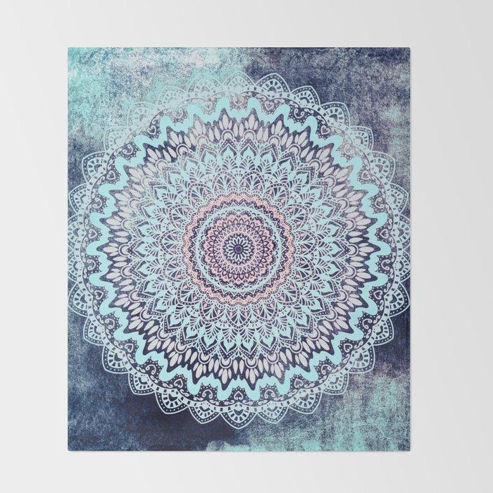 Boho Throw Blankets Beauteous BLUE AUTUMN BOHO MANDALA Throw Blanket By Nika Society60