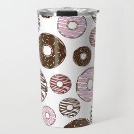 Pattern Of Donuts, Sprinkles, Icing - Pink Brown Travel Mug
