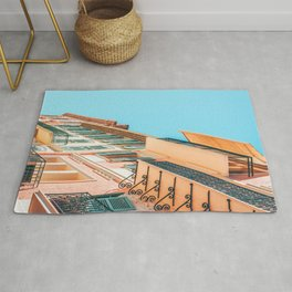 Cannes City Architecture, Summer Travel Retro Print, Historic Houses Downtown Old City Center Of Cannes, French Riviera, Pink Houses Facade Rug