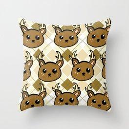 Deer and Argyle Throw Pillow