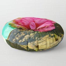 Pink Flower on Wood Floor Pillow