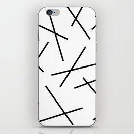Black and white mikado stripes dash pattern iPhone Skin