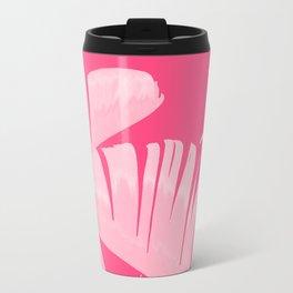 Chill Pink Tropical Banana Leaves Design Travel Mug