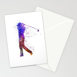 man golfer swing silhouette Stationery Cards