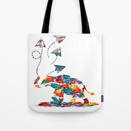 Baby elephant with paper planes Tote Bag