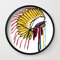 headdress Wall Clocks featuring Headdress by Relic X