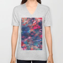 splash painting texture abstract background in red pink blue Unisex V-Neck