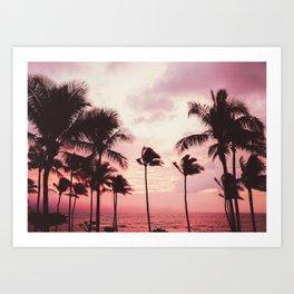 Tropical Palm Tree Pink Sunset Art Print