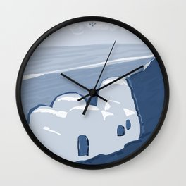 Labyrinth on the Shore, Sketch, Cyanotype Wall Clock