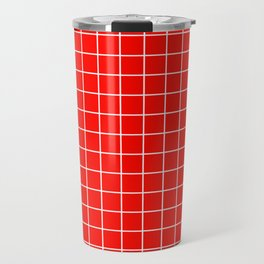 Candy apple red - red color - White Lines Grid Pattern Travel Mug