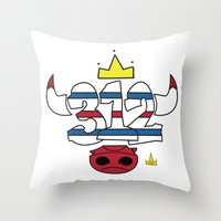 chicago bulls Throw Pillows featuring Chicago Pride Bulls by TyRex Creations