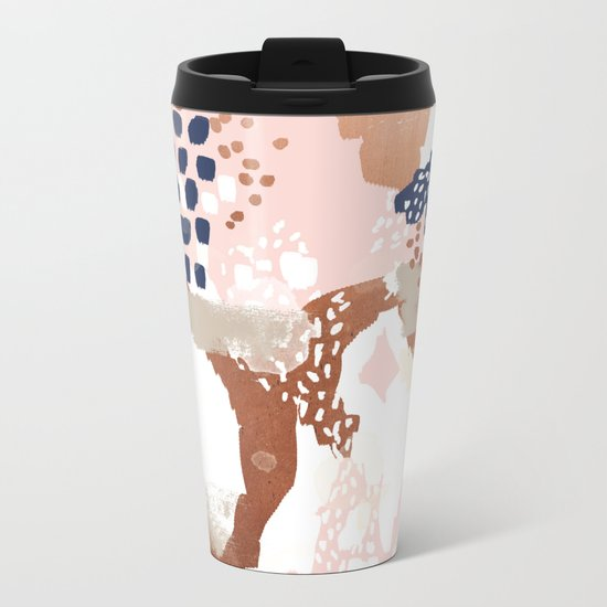 Sonia - rose gold navy copper modern abstract rosegold trendy pattern cell phone accessories Metal Travel Mug