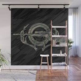 Camouflage Hunting and Shooting Sports Logo with Rifle, Buck Horns and Target Wall Mural