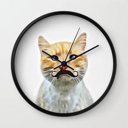 chat avec une moustache (Cat with a mustache in French) Wall Clock