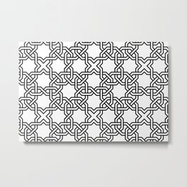 Entwined graphic Lines Home Design - black & white Metal Print