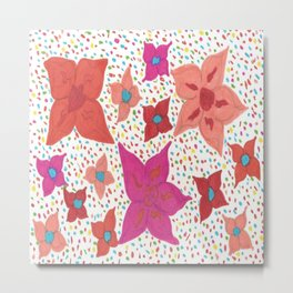 Pink and Orange Floral and Polka Dots Metal Print