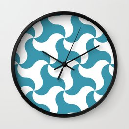 Teal shark tooth pattern for the beach Wall Clock