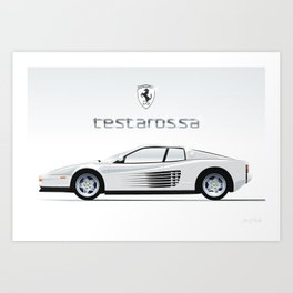 Cocaine-white, 1980's Ferrari Testarossa Illustration Art Print