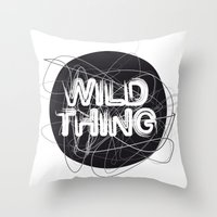 the thing Throw Pillows featuring Wild Thing by feigenherz BAM