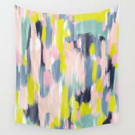 Abstract Brush Stroke Art in Modern Color Palette Wall Tapestry