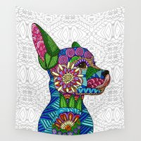 puppy Wall Tapestries featuring Folk Art Puppy by ArtLovePassion