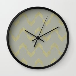 Simply Deconstructed Chevron Mod Yellow on Retro Gray Wall Clock