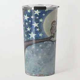 northern saw whet owls under the stars Travel Mug