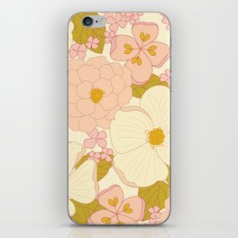 Pink Pastel Vintage Floral Pattern iPhone Skin
