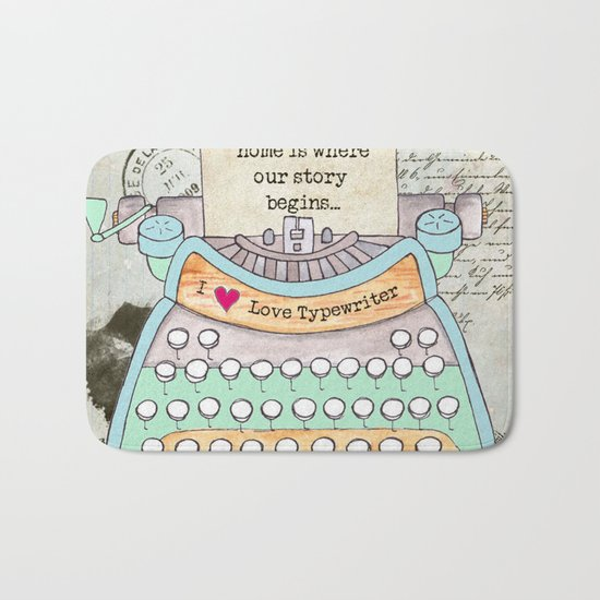 Typewriter #4 Bath Mat