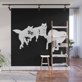 Running Wolves [Black] Wall Mural