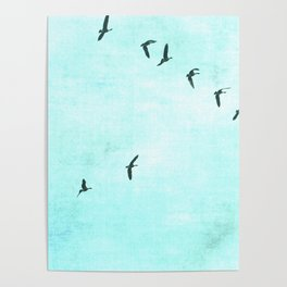 GEESE FLYING - TURQUOISE Poster
