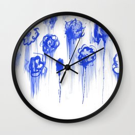 Blue Flowers for Cy  Wall Clock